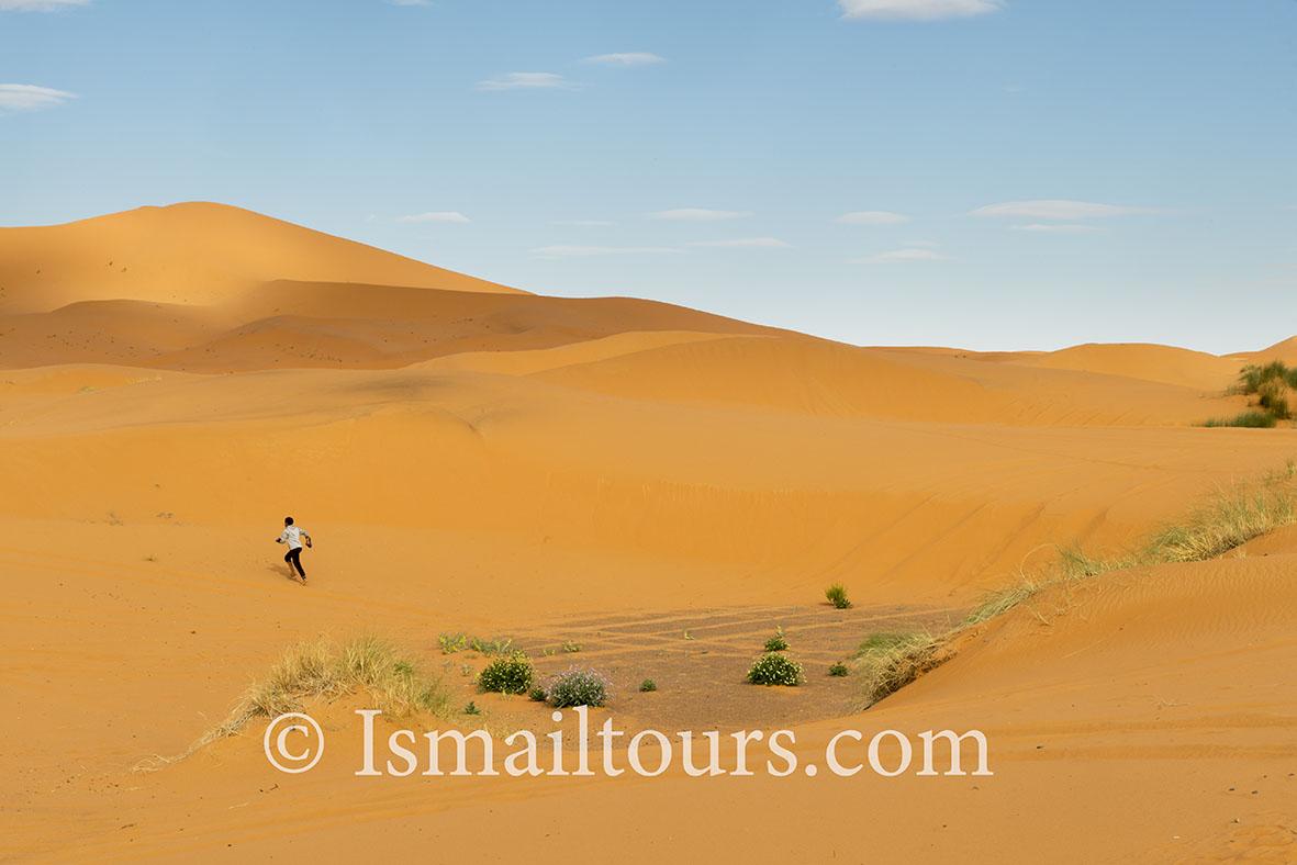Marokko, Mhammid, 20150315.  Woestijn in de lente.Jongen rent door het zand. Boy is running through the desert.  Desert in springtime. Naamsvermelding verplicht; Foto ; Sabine Joosten/Hollandse Hoogte