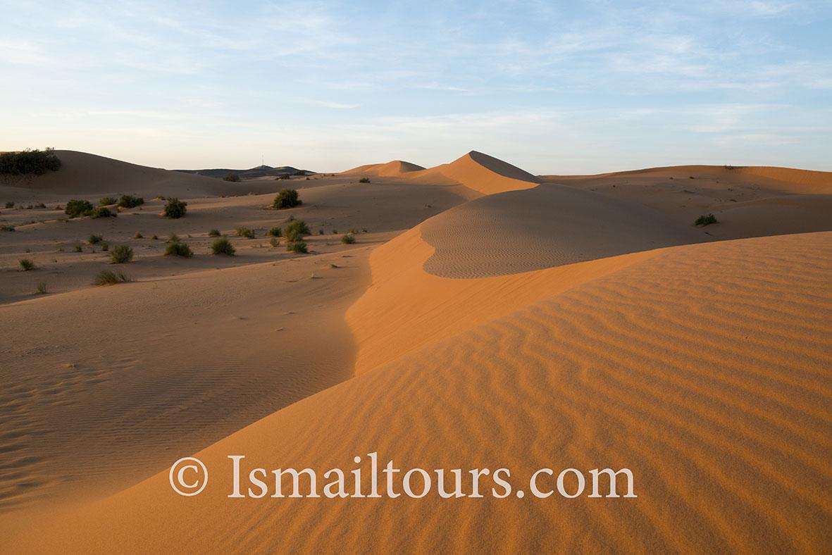 Marokko, Merzouga, 20150316.  Woestijn landschap in de lente, ondergaande zon, helleningen in het licht. Hills at sunset. Desert in springtime , landscape. . Naamsvermelding verplicht; Foto ; Sabine Joosten/Hollandse Hoogte